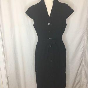 Calvin Klein Belted Button Front Dress In Black